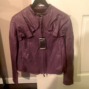Emporio Armani Purple Leather Jacket Womens 46 NWT
